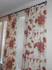 Custom Drapes DURALEE Cotton Linen fabric printed floral butterflies new PAIR