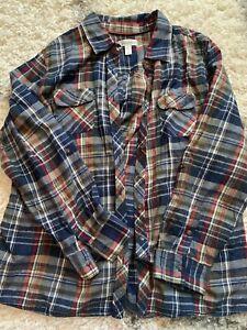 Womens Dressbarn Button Up Plaid Flannel Shirt Size 2X