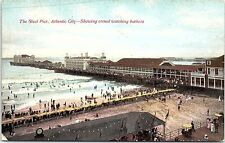 Postcard The Steel Pier Atlantic City NJ crowd watching bathers New Jersey