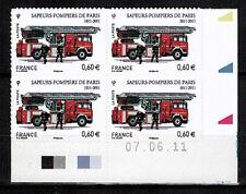 2011-ADHESIF//BLOC DE 4 TIMBRES-SAPEURS  POMPIERS/PARIS-STAMP-COIN DATE-Yt.602