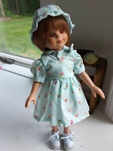 Dianna Effner Doll Aqua jumper with flowers, blouse, shorts and hat