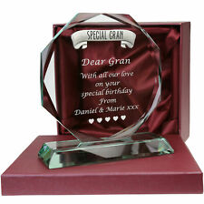 Engraved Special Gran Cut Glass Gift Birthday Christmas Deceased Sympathy Gifts