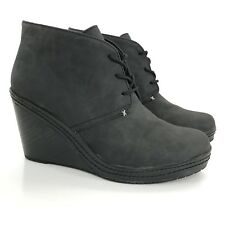 Dr. Scholls Womens Size 9.5 Bethany Ankle Boots Black Faux Vegan Leather Wedge