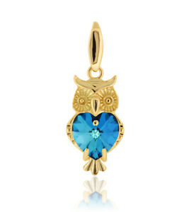 Sterling Silver Gold Plated Owl Pendant made with 6228 Heart Swarovski® Crystals