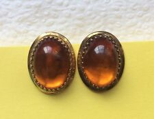 Vintage RARE Real Amber 1/20 12K GF Gold Filled Clip On Earrings