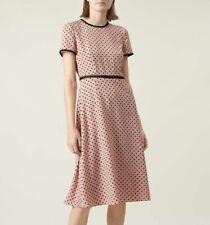 Hobbs Maria Dress in Camelia Pink with Black Polka Dot Size UK16 RRP £149