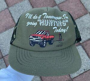 Vtg Hunting Mesh Trucker Hat Camo Three 3 Stripe Pepsi USA John Deere Harley Cat