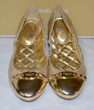 New $120 Michael Kors Joyce Ballet Metallic Gold Leather Quilted Insole Flats