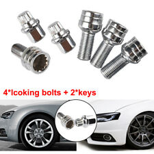 4+2 Locking Wheel Nuts Bolts Studs Radius Security Key AUDI A3 A4 A5 A6 M14x1.5