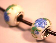 10 Silver Blue Green White Porcelain Bracelet Chrysanthemum Flower Charm Beads