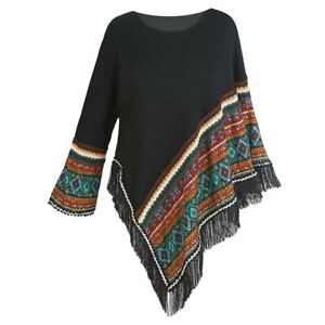 Women's Sweater Knit Poncho - Black Fringed Aztec Print Pullover Cape, 1 Sleeve