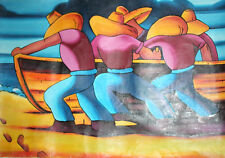 Large Abstract figures boat oil painting
