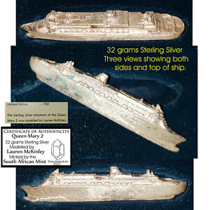 1 oz sterling silver model ship Queen Mary 2 2011 south africa maritime history