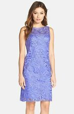 NWT $458 SUE WONG Sue Wong Embroidered Sheath Dress Periwinkle.SZ:6