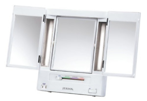 Jerdon Tri-Fold Two-Sided Lighted Makeup Mirror with 5x Magnification, White