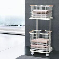 2 Tier Wire Storage Basket Trolley