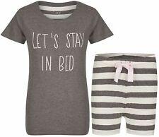 By Louise Damen Pyjama kurz Nachtwäsche Homewear grau weiß Streifen Spruch