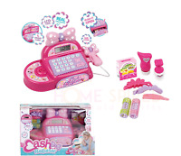 Pink Electronic Cash Register Till Kids Role Play Leaning Toy Real Calculator