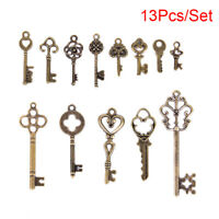13Pcs/Set Vintage Metal Crown Key Pendant DIY Craft Charm Alloy Jewelry MakE Hu