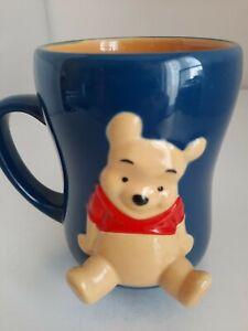 Disney Store Exclusive Winnie the Pooh 3D Raised Relief Legs Blue Weighty Mug
