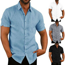 Mens Short Sleeve Plain Solid Shirts Tee Lapel Button Up Tops Summer Work Casual