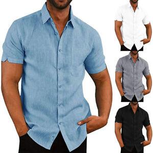Herren Hemd Leinen-Optik Hemden Sommer Kurzarmshirt Freizeitshirt Freizeittops