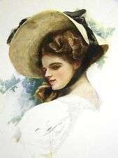 Harrison Fisher Girl in a BIG BONNET in the GARDEN 1912 Antique Art Print Matted
