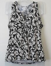 Womens PS Chaus Black White Floral Stretch Sleeveless Top Rayon Spandex V-Neck