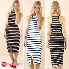Polyester Cocktail Stretch, Bodycon Striped Dresses for Women