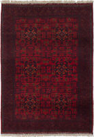 """Vintage Hand-Knotted Carpet 3'5"""" x 4'10"""" Traditional Oriental Wool Area Rug"""