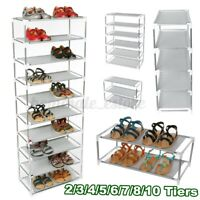 2-10 Tier Metal Shoes Rack Stand Storage Organizer Shelf Holder Stackable