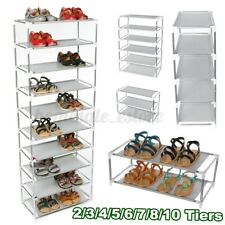 2-10 Tier Metal Shoes Rack Stand Storage Organizer Shelf Holder Stackable