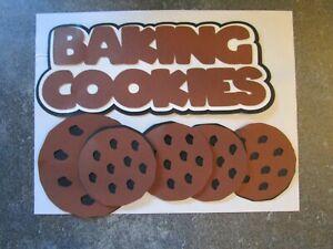 BAKING COOKIES -Brown, White/Black Die-Cut Scrapbook Title -NEW