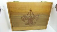 "BSA Boy Scout Hinged Wooden Box Vintage 12 x 9.5 x 3"""