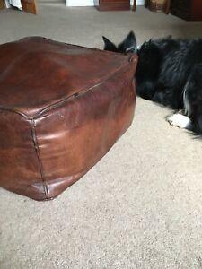 Quality Leather Pouffe Bean Bag Vintage Hide Large Seat Footstool Comfy Leg Rest