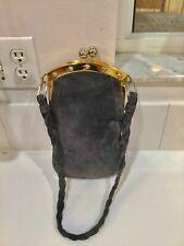 GiGi 1950's Handmade In Spain Gray Suede & Brass Frame Long Bag