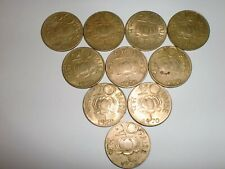 "- INDIA LOT OF 10  OLD COINS:  "" 20  PAISE ""- 1970 - NICKEL- BRASS - RARE # 5DC"