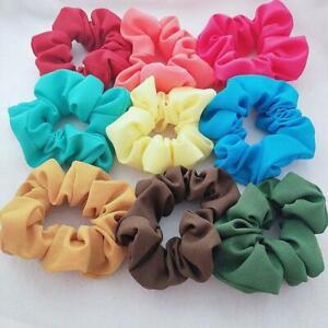 1/5Pcs Women Solid Color Stretch Elastic Chiffon Hair Band Hair Accessories