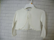 Girls Rare Editions Ivory Cropped Sweater Size Medium One Button Ruffle Trim