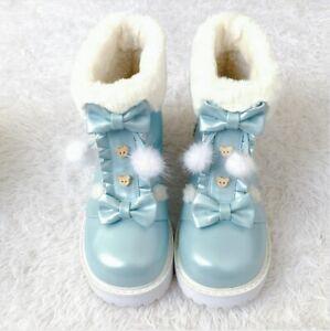 Bear and Bowknot Boots Cute Plush Cashmere Wool Kawaii Warm Winter Ugg Shoes