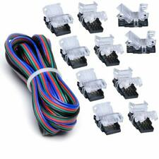 10Pcs 4-Pin Quick Connector for 10mm RGB Waterproof LED Strip+5M Extension Cable