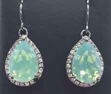 Sterling Silver Gunmetal Pear Blue Opaque Crystal - CZ Halo Dangle Hook Earrings