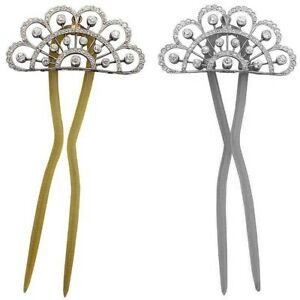 4.64ct Diamond and 14k Solid Gold Bridal Wedding Hair Pin in White or Yellowgold