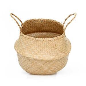 Belly Basket Seagrass Handmade Planter Pot Large 35 40cm Kids Toy Storage Bag