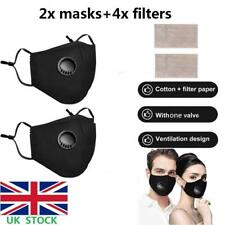 2pcs Reusable Washable Face Cover Mouth Muffle Shield +Activated Carbon Filters