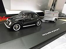 VW Volkswagen Käfer Brezel black + Anhänger Sportberger G2 Wohnwagen Sch SP 1:43
