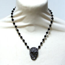 Butler and Wilson 2 Pewter Crystal Skull Short Beaded Rosary Necklace NEW