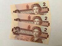 3x 1986 2 DOLLAR BILLS IN SEQ. UNCIRCULATED