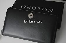 Oroton Melanie Large Multi Pocket Zip Around Wallet. Black Leather.