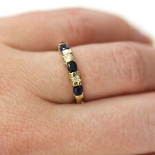 0.8 ctw Natural Blue Sapphire & Diamond Solid 14k Yellow Gold 5 Stone Band Ring